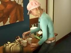 Blond can't live without her coffee fucking recent tube porn video