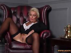 Horny blonde Milf finger fucks tight moist pussy in nylons tube porn video