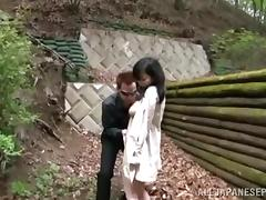 asian lovely gets licked outdoors