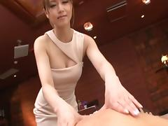 Classy Asian lady servicing a guy's pulsating cock