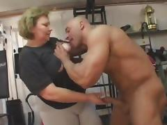 fat granny does anal in the gym porn tube video