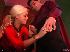 Lustful blonde goes to the priest to get a taste of his dick tube porn video