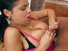 Busty brunette receives messy facial after bathroom anal
