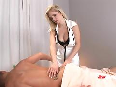 All natural blonde giving a massage and making a guy orgasm