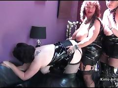 Busty British matures in PVC tube porn video