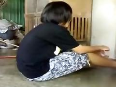 Banging Oriental beauty on the floor porn tube video