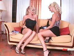 Blondes fuck each other in their hot holes with massive toys porn tube video