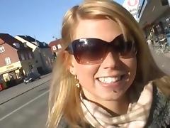 Euro blonde masturbates in shower tube porn video