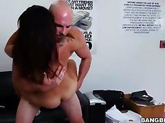 Anal casting with attractive brunette