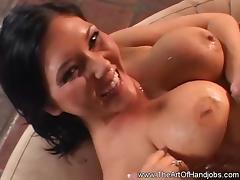 Booby Brunette Likes a Handjob porn tube video