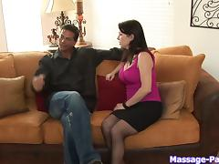 Big tits milf masseuse gives him the best blowjob ever