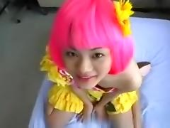 Cute asian girl with pink hairy pov blowjob and handjob, until he cums. porn tube video