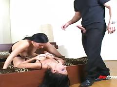 Sassy brunette babes with lovely tits in threesome sharing a huge cock