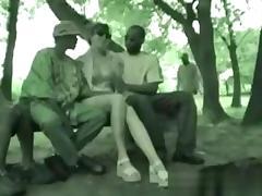 Interracial bang in the public park