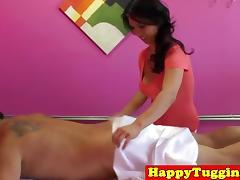 Asian masseuse Mia Li with big tits tugging