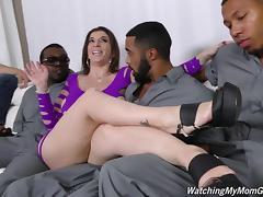 White boy watches Sara Jay get laid in an interracial gangbang tube porn video