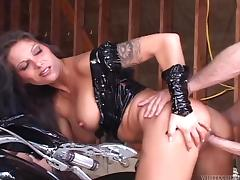 Hot biker couple in leather outfits fucking on the motorcycle tube porn video