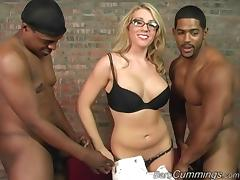 Blonde in glasses takes on two black guys at the same time