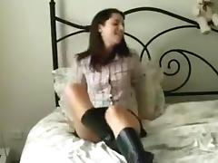 Brunette Hair honey can't live without rubbing her taut soaked cum-hole. porn tube video