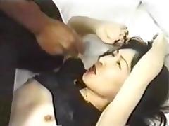 Cute Asian slut have fun with 2 BBC porn tube video