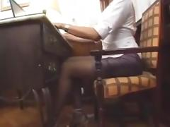 Tgirl and chick hardcore act on a sofa porn tube video