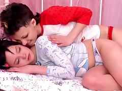 Bed, Bed, Brunette, Dildo, Fucking, Lesbian