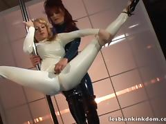 Ladies dancing in latex catsuits unzip for strapon fucking