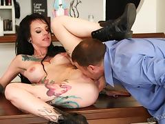 tattooed brunette gets undressed and licked