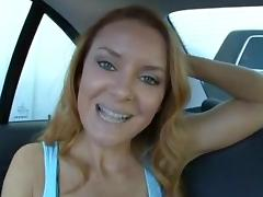 Amazing Redhead Milf Fucked on the Backseat tube porn video