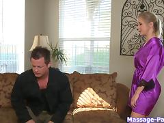 He wants the hot blonde masseuse to suck his big dick porn tube video