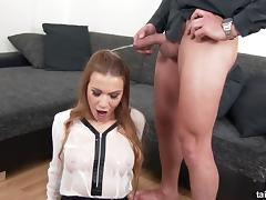 Hot secretary in a blouse and stockings sucks his cock