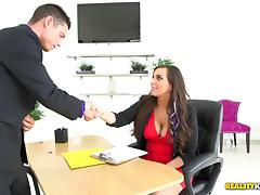 The business meeting ends with his dick inside her pink pussy