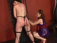 Hot young lesbian restrains her slave girl and whips and spanks her ass porn tube video