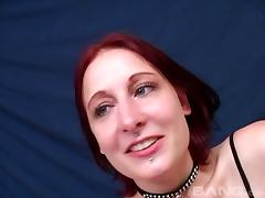 Redhead in a cute collar used like a naughty oral whore