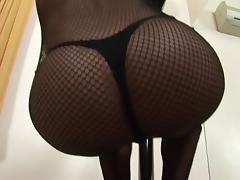 Amazing tranny in bodystockings masturbating her big cock