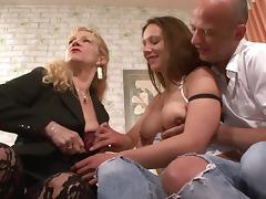 Buxom babes lick each other's twats after being slammed in a wild ffm threesome