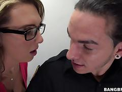 Blonde With Small Tits In Glasses Awarding Her Guy Titjob