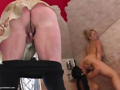 Grandma hard fucked by two younger lesbians