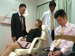 Group of men fuck an Asian wife hardcore in front of her husband porn tube video