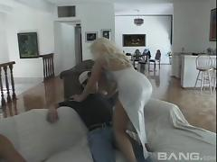 Curvy blonde MILF takes on a couple of younger guys at once