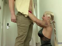 German Tattoo Teen get fucked by Stranger in Uniform tube porn video