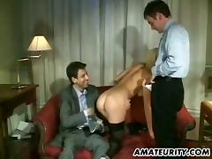 Tight ass and wet mouth of a slut in stockings get banged