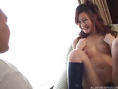 Hairy Japanese twat fingered until juices drip out of it