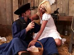 Stunning blonde in a vintage dress fucked in the barn