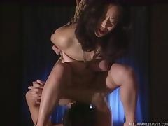 Adorable model in bondage weathers thorough bdsm bonking on bed
