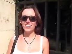 Hot slut gets cum over her white titties.