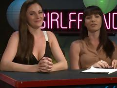 Flirty chat show with a pair of hosts and a sexy blonde