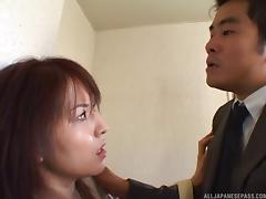 Slutty older Asian bitch gets a facial on the staircase porn tube video