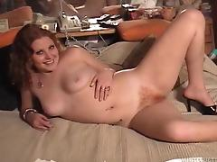 Chubby redhead with a hairy pussy enjoying a hardcore missionary style fuck tube porn video