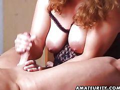 Busty amateur MILF fucks husband tube porn video